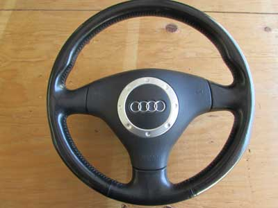 Audi TT MK1 8N Leather Trimmed Sport Steering Wheel Aluminum Accents W/ Air Bag 8N0419091B25D