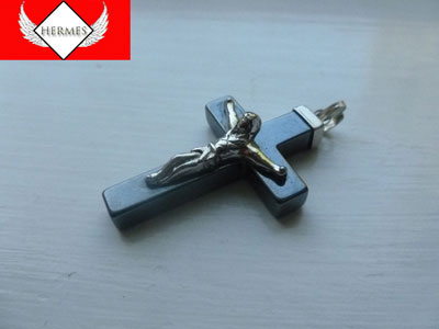 Onyx Crucifix Cross Necklace Pendent